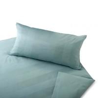Satin Bettwäsche Superbe in Breitstreifen-Optik aus Bio Baumwolle, Farbe Atlantik