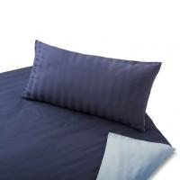 2-seitige Bettwäsche aus Satin (Bio Baumwolle) Hell-/Dunkelblau