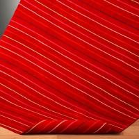 Decke Strichel in schönem Mohn-Rot mit feinen bunten Streifen aus Bio Baumwolle