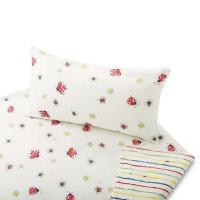 Satin Bio Baumwoll-Bettwäsche mit Marienkäfern und Streifen