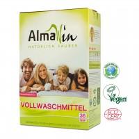 Almawin Vollwaschmittel, vollständig biolobisch abbaubar. Strahlend, saubere Wäsche.