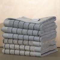 Wendehandtuch aus Bio Baumwolle, mit Streifen, in Farbe Silber/Schiefer