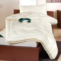 4 Jahreszeiten-Decke mit Schafwoll-Füllung und Baumwoll-Satin-Bezug