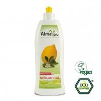 Ökologisches Spülmittel mit Zitrusduft. Kraftvoll bei verschmutzen Geschirr, schonend zu den Händen.
