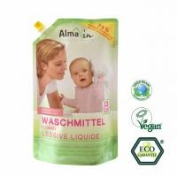 Almawin flüssig Waschmittel im Ökopack, haut-, und umweltfreundlich - schonend für alle Baumwollfasern.